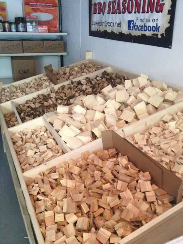 A variety of wood chunks offered at the Baxter's showroom.