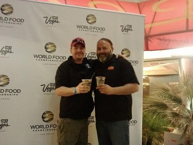 Jim Elser, Sweet Smoke Q hanging out with Brad Kay of Lang BBQ Smokers, in Vegas, for the WFC.